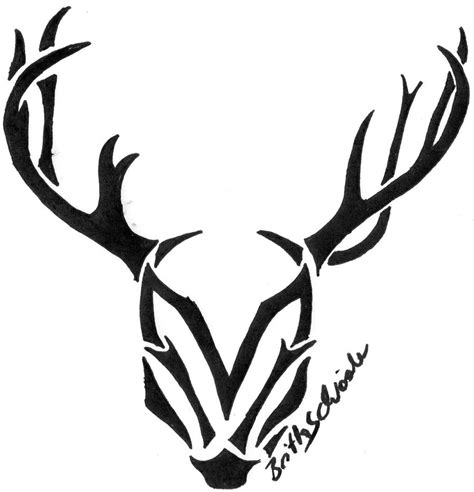 tribal deer head drawing clipart best