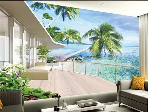 3d wallpaper home decor aliexpress com buy europe style beach balcony 3d room