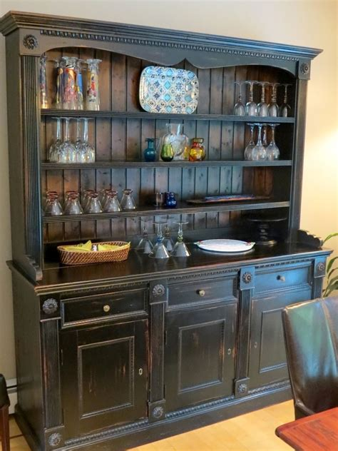 Kitchen Buffet Cabinet Hutch Crafted Custom Black Rustic China Cabinet From Salvaged Barn Boards By Ecustomfinishes