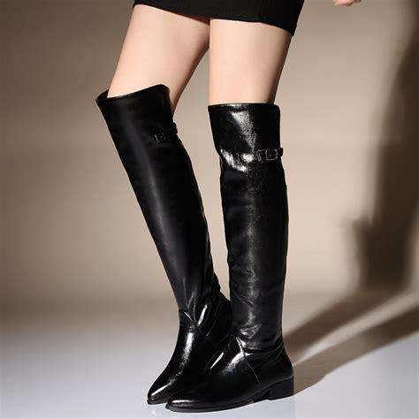 flat heel knee high leather boots 2015 autumn winter