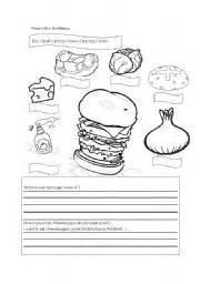 esl kids worksheets hamburger