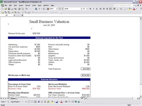 Excel Valuation Report Sba Business Valuation Template