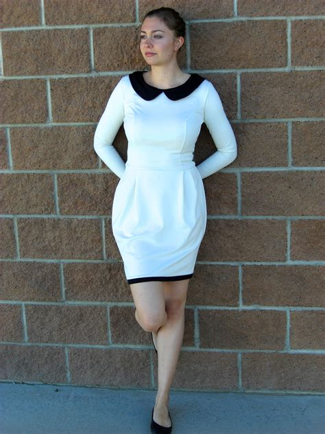 sewing pattern jersey dress black and white peter pan collar jersey dress sewing