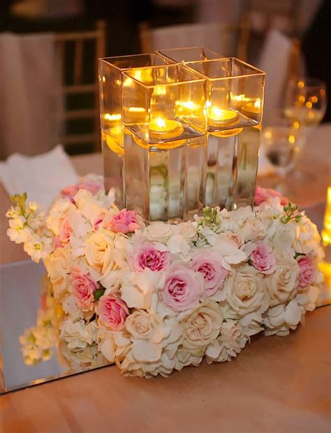 300 Best Candle Wedding Centerpieces Images On Pinterest Candle Floral Centerpieces