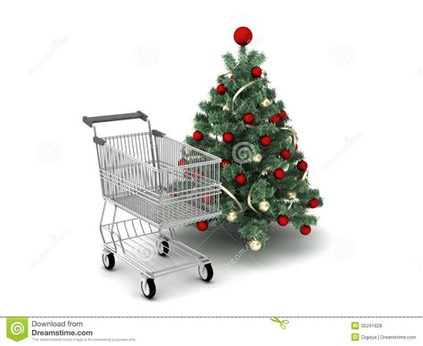 shopping cart and christmas tree royalty free stock photos