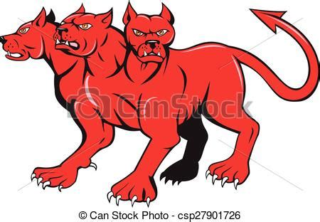mythological dog cerberus vector illustration in cartoon style vector illustration of cerberus multi headed dog hellhound