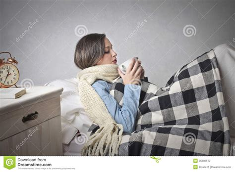 cold bed woman with a cold stock photography image 35806572