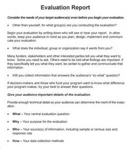 evaluation report template sle evaluation report template 7 free documents