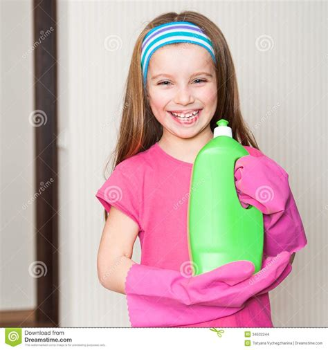 little girl house little girl cleans the house stock images image 34532244