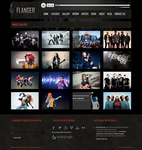 Flanger Responsive Html5 Music Band Template By Themelan Themeforest Responsive Gallery Template