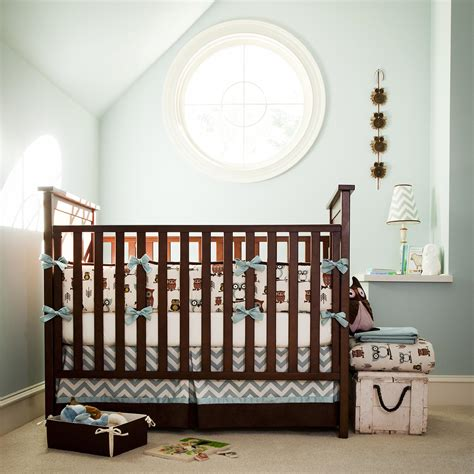 Boy Baby Crib Bedding Retro Owls Crib Bedding Owl Print Crib Bedding Carousel Designs
