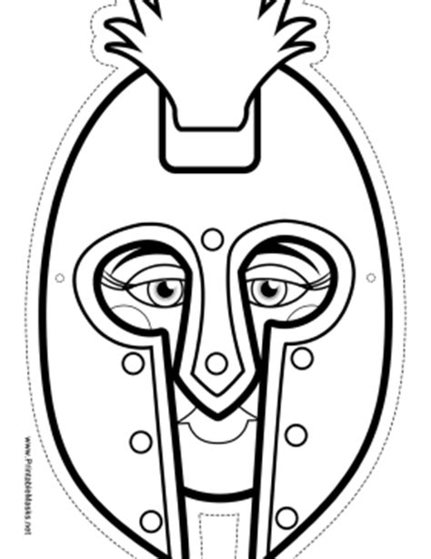 printable warrior mask to color mask