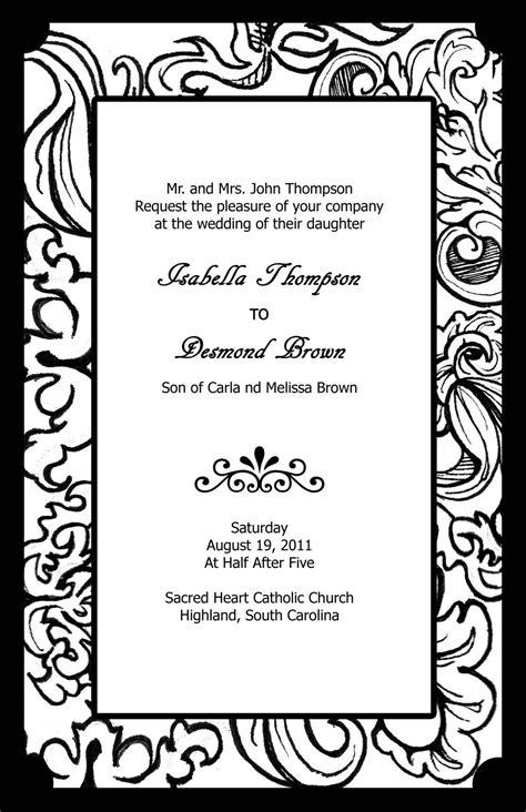 Free Black And White Wedding Invitation Templates Black And White Invitation Templates Free