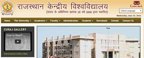 Curaj Mba Admission by Central Of Rajasthan Cut Merit List 2018
