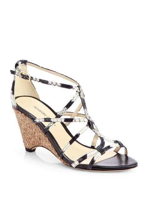 white strappy wedge sandals alexandre birman strappy python wedge sandals in white lyst