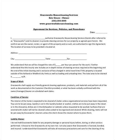 cleaning service contracts templates cleaning service contract template pdf templates