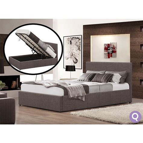 Fabric Storage Bed by Size Fabric Gas Lift Storage Bed Frame Grey Buy