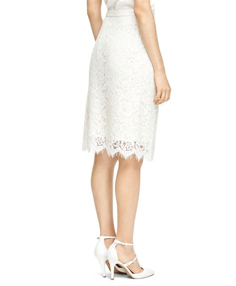 brothers lace pencil skirt in white lyst