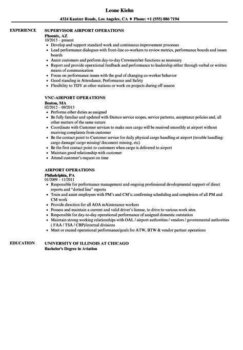 Resume For Airport Jobs by Airport Operations Resume Samples Velvet Jobs