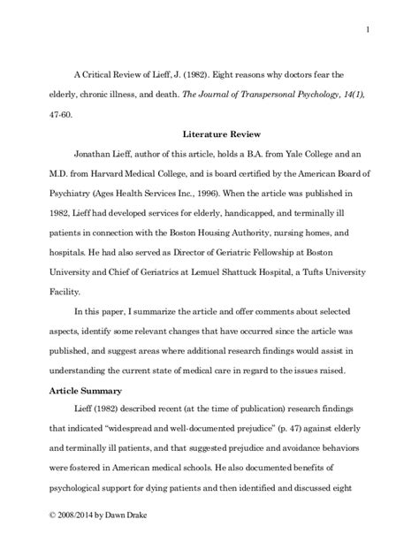 article summary template article review writing sle