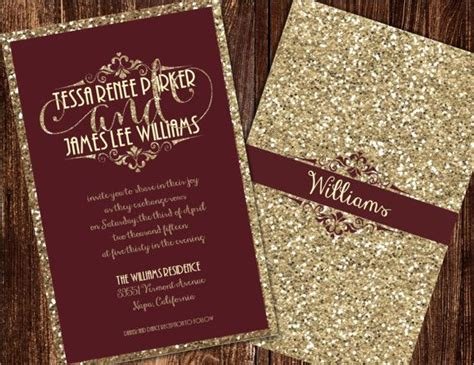 Wine And Gold Template Wedding Invitation Card Sle by Chagne And Burgundy Wedding Invitations By