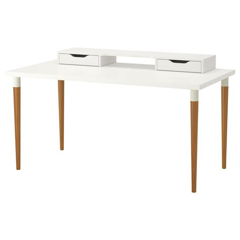 Hilver Linnmon Table White Bamboo 150x75 Cm Ikea Ikea White Desk Table