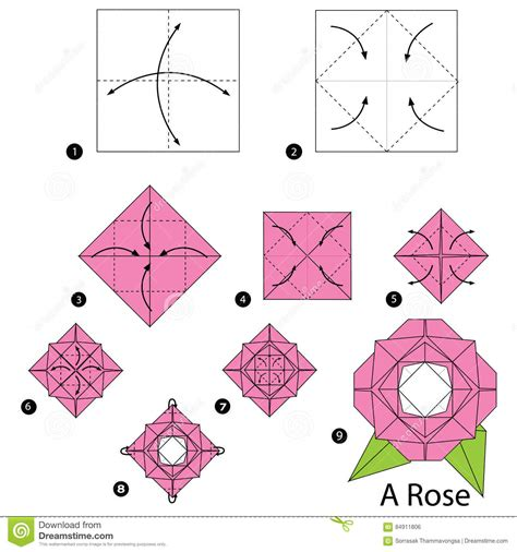 origami flowers step by step origami flower stock images royalty free images step by step how to make origami a stock vector illustration of pretty