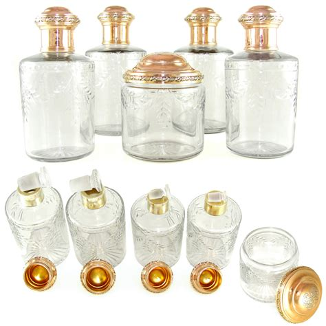 Vanity Bottles by Antique Sterling Silver Gilt Vermeil Dresser Vanity