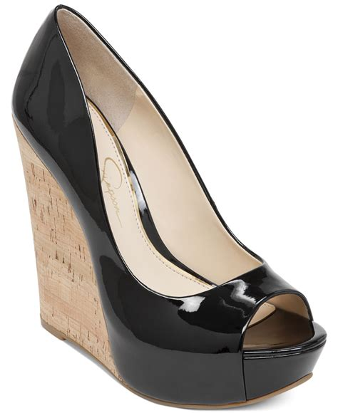 jessica simpson bethani cork platform wedge pumps  black