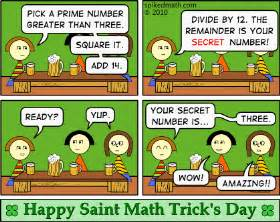 Spiked math comic happy saint math trick s day