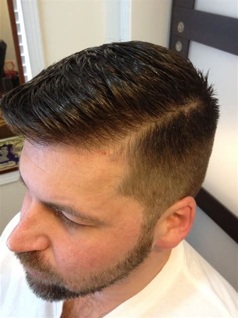parting haircut tight taper slicked parted hair style pinterest