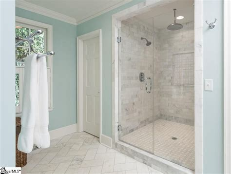 Shower Doors Greenville Sc by 3 4 Bathroom With Complex Marble Tile Floors Shower