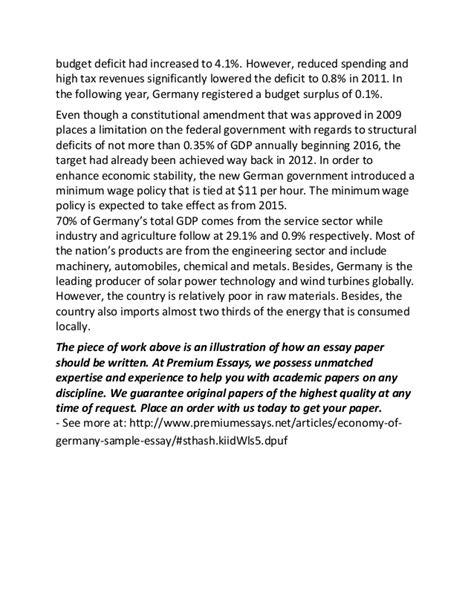 Economy Essay by Economy Of Germany Sle Essay