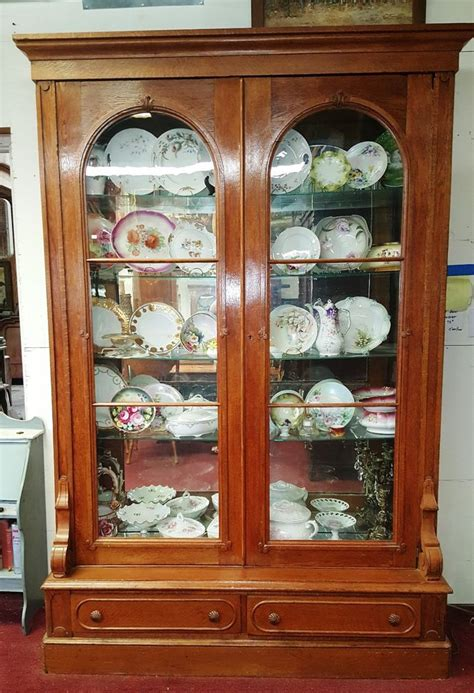 Antique Display Cabinets With Glass Doors Antique American Oak Display Cabinet Bookcase Vitrine 2 Arched Glass Doors H94 Quot Ebay