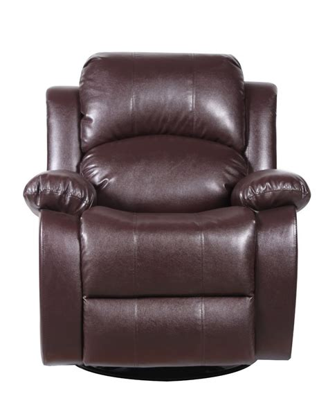bonded leather rocker  swivel recliner living room chair brown ebay