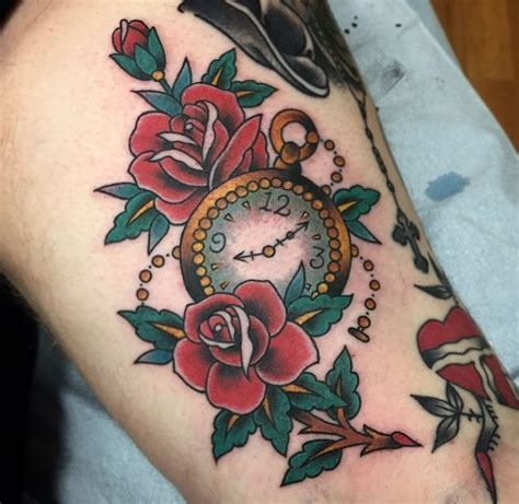 traditional pocket watch tattoo traditional pocket roses ideas for