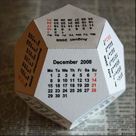 Origami Calender - free 2009 geosphere origami calendar 12 sided