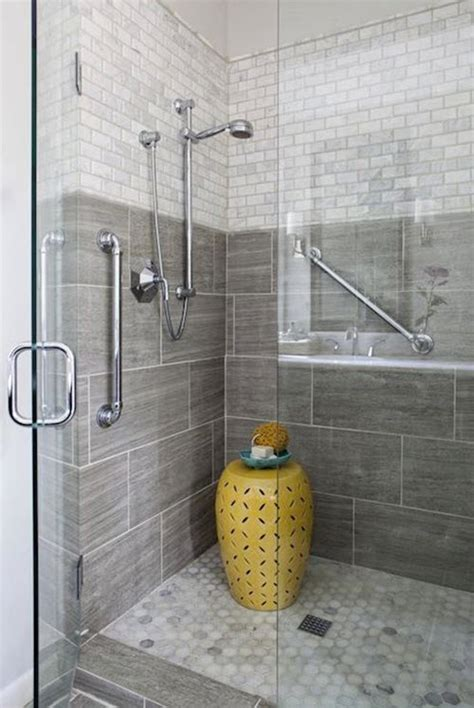 40 Gray Shower Tile Ideas And Pictures Grey Tile Bathroom Designs