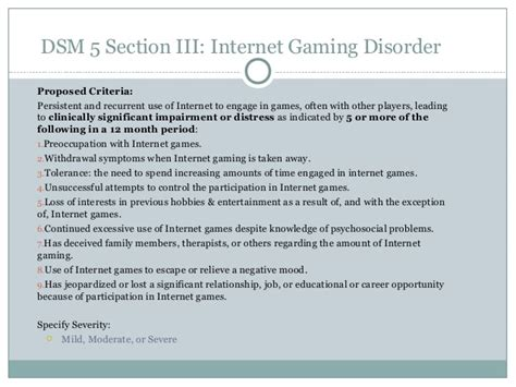 dsm 5 sections internet gaming addiction