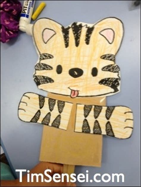 tiger puppet template tiger puppet craft take one paper bag a tiger template