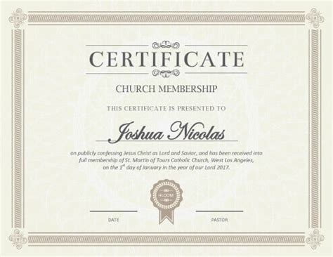 church certificate templates 5 certificate of membership templates free