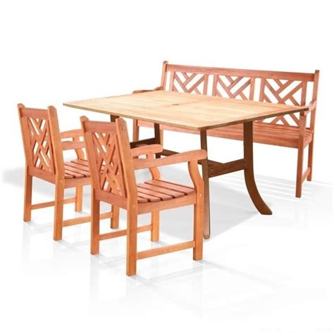 Wood Patio Dining Set Atlantic 4 Wood Patio Dining Set V187set1
