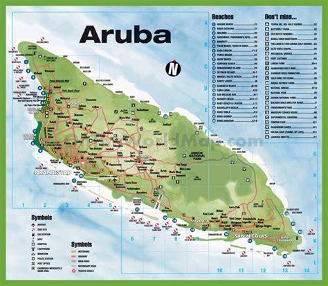 printable aruba road map travel map of aruba