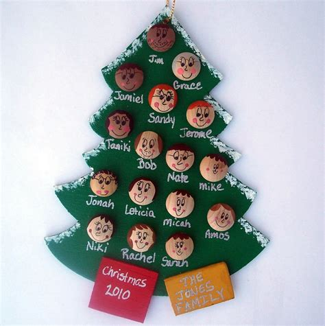 personalized family christmas tree ornament up to 16 faces