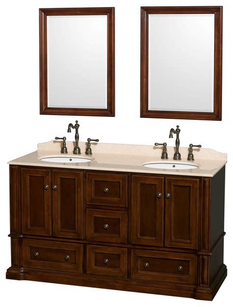 Oval Bathroom Vanity by Rochester 60 Quot Cherry Vanity Ivory Marble Top