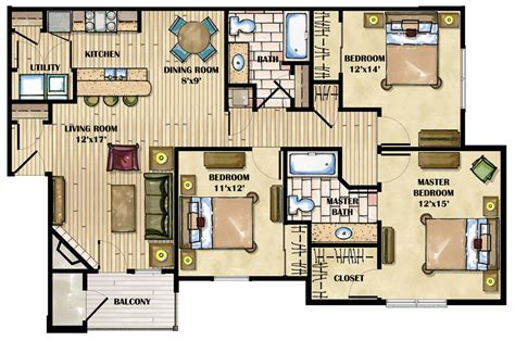 4 Bedroom Luxury Apartment Floor Plans | luxury bedroom apartment floor and luxury two bedroom