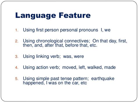 verb feature pattern recount text presentation on ict program