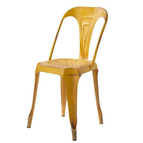 Classic Nursery Decor Metal Industrial Chair In Yellow Multipl S Maisons Du Monde