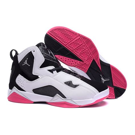 womens jordans shoes air 7 true flight gs white black pink 342774