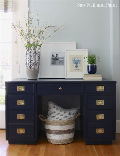 navy blue caign style desk saw nail and paint